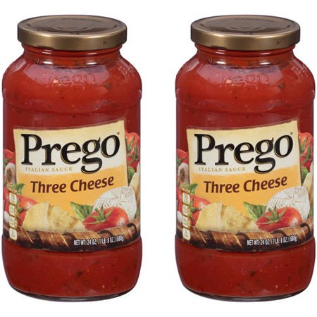 (2 Pack) Prego Three Cheese Italian Sauce, 24 oz. (Cheese Sauce With Water Instead Of Milk)