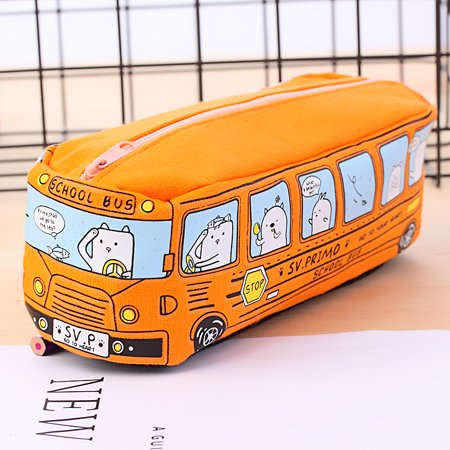 Cute Cartoon School Bus Canvas Pencil Case Stationery Storage Pen Bag Pouch Children Kids School Office Supply for Boys Girls (Orange) - School Supplies Stores Near Me