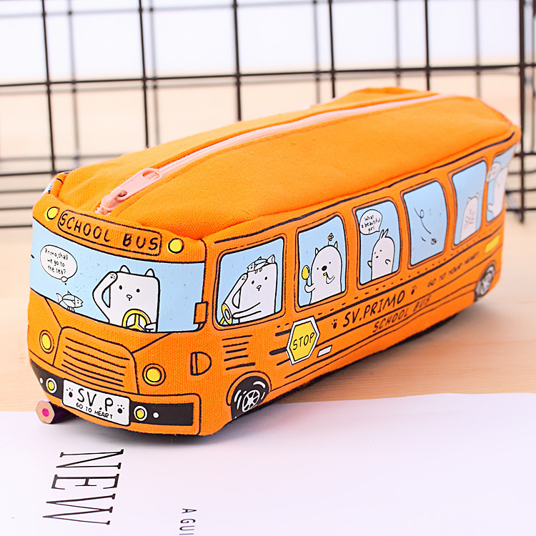 Cute Cartoon School Bus Canvas Pencil Case Stationery Storage Pen Bag Pouch Children Kids School Office Supply for Boys Girls (Orange)