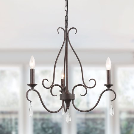 LNC Rustic French Country Chandelier ,3 Lights Candle Iron Chandeliers with Crystal Droplets for Dining Room, Kitchen, Bedroom 3 Light Old Iron