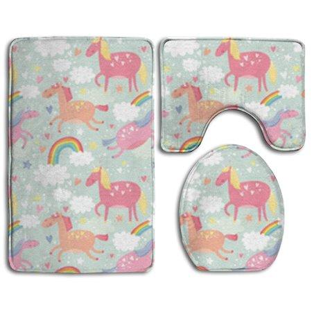 Pudmad Unicorn And Rainbow 3 Piece Bathroom Rugs Set Bath