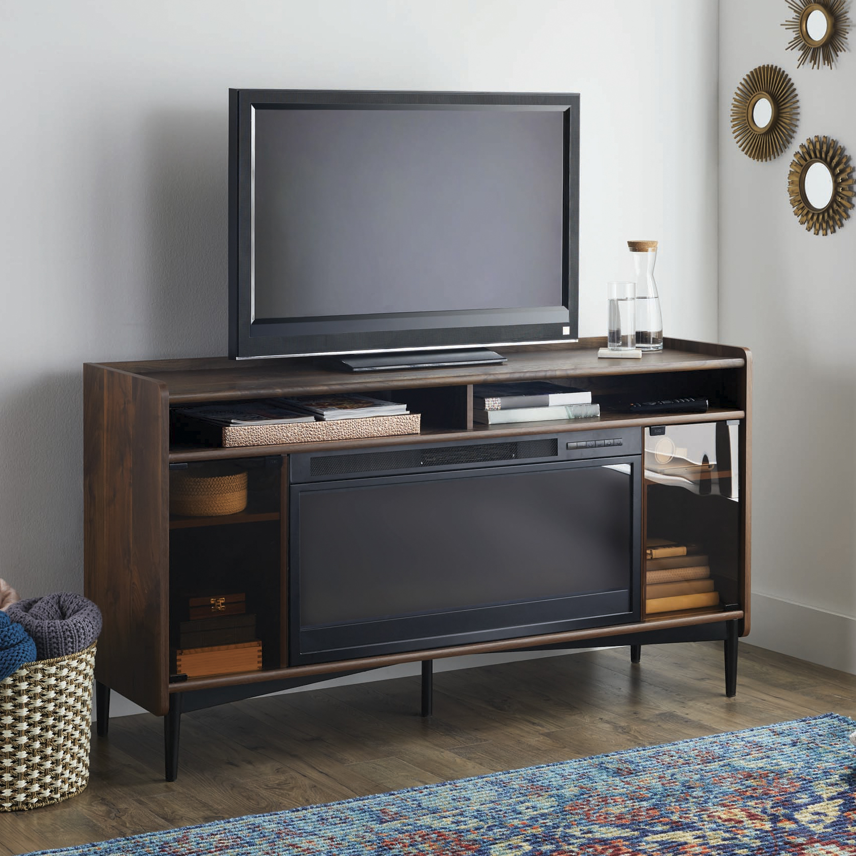 "Better Homes and Gardens Montclair Entertainment Fireplace Credenza for most 60"" Flatscreen TVs up to 70 lbs, Vintage Walnut Finish"