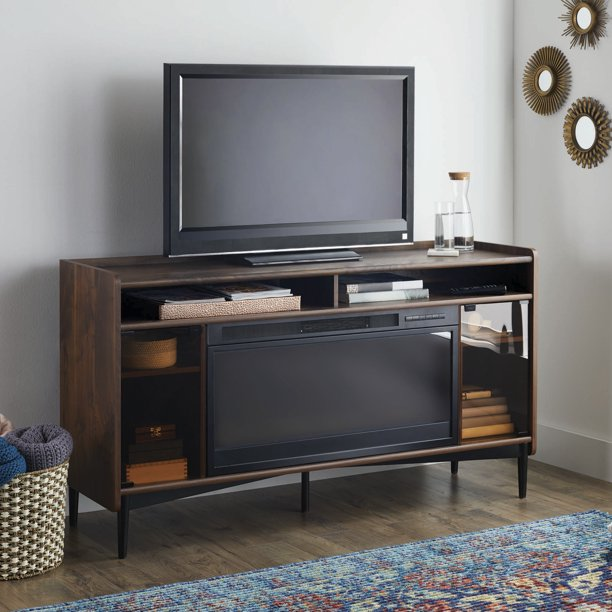 "Better Homes & Gardens Montclair Entertainment Fireplace Credenza for most Flatscreen TVs up to 60"", Vintage Walnut Finish"