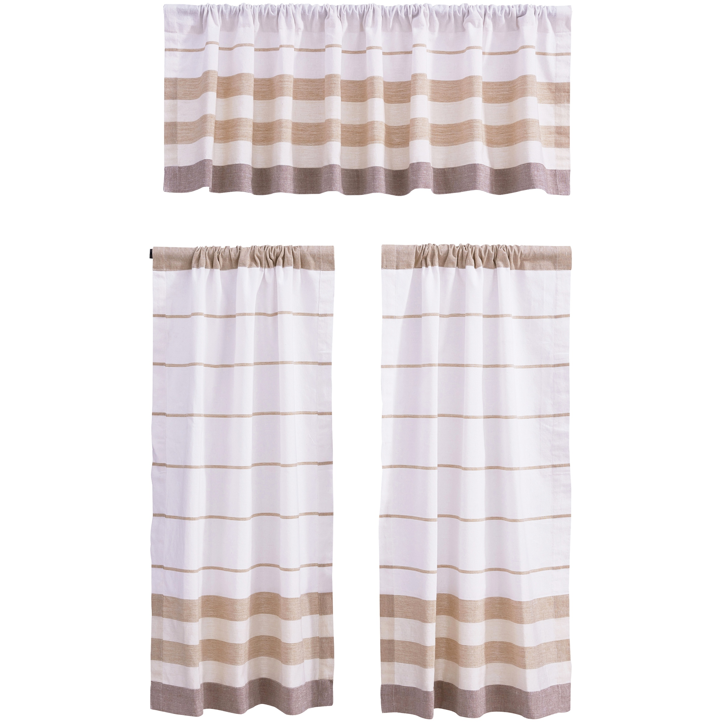 Better Homes & Gardens Yarn-Dyed Dobby Double Stripe Window Valance and Tiers