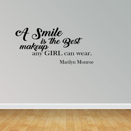 A Smile Is The Best Makeup Any Girl Can Wear Wall Decal Marilyn - Wall decals marilyn monroe