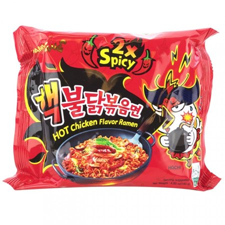 Samyang Spicy Hot Chicken Ramen Noodles 2 X Spicy 4.93 Oz. (Pack of 2)
