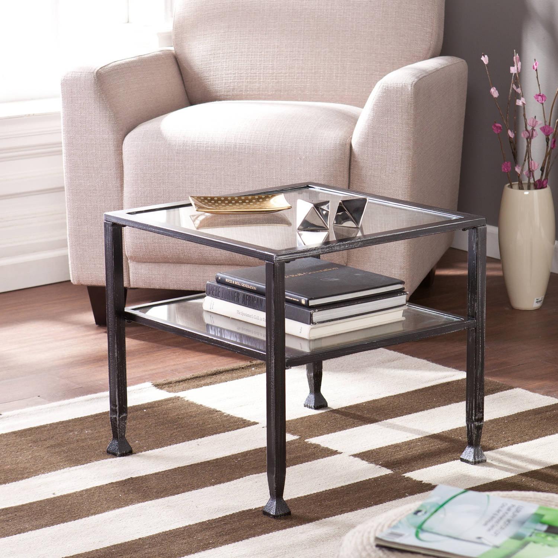 Southern Enterprises Metal 2-Shelf End Table, Black