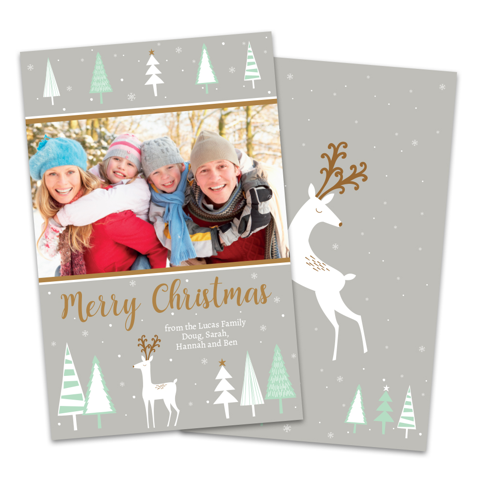 Personalized Deer and Trees Photo Christmas Card