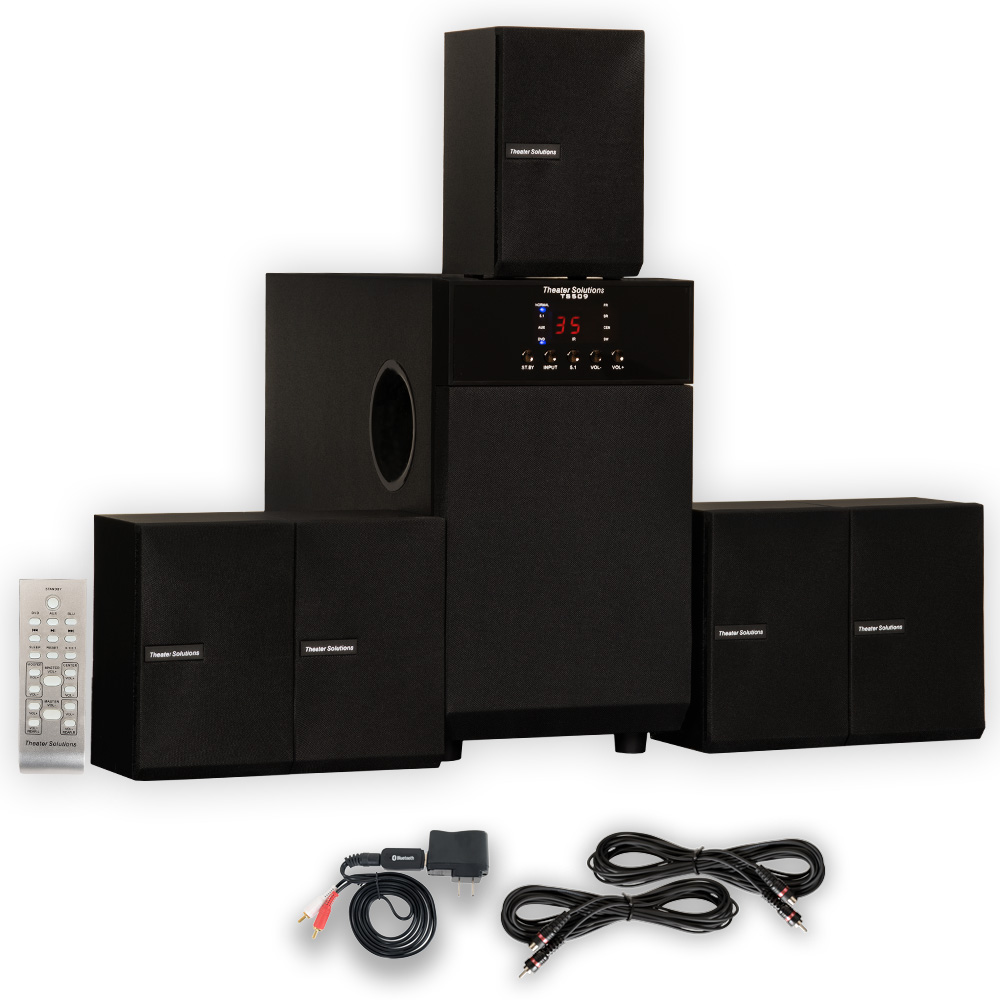 Theater Solutions TS509 Home Theater 5.1 Speaker Surround System with Bluetooth and 2 Extension