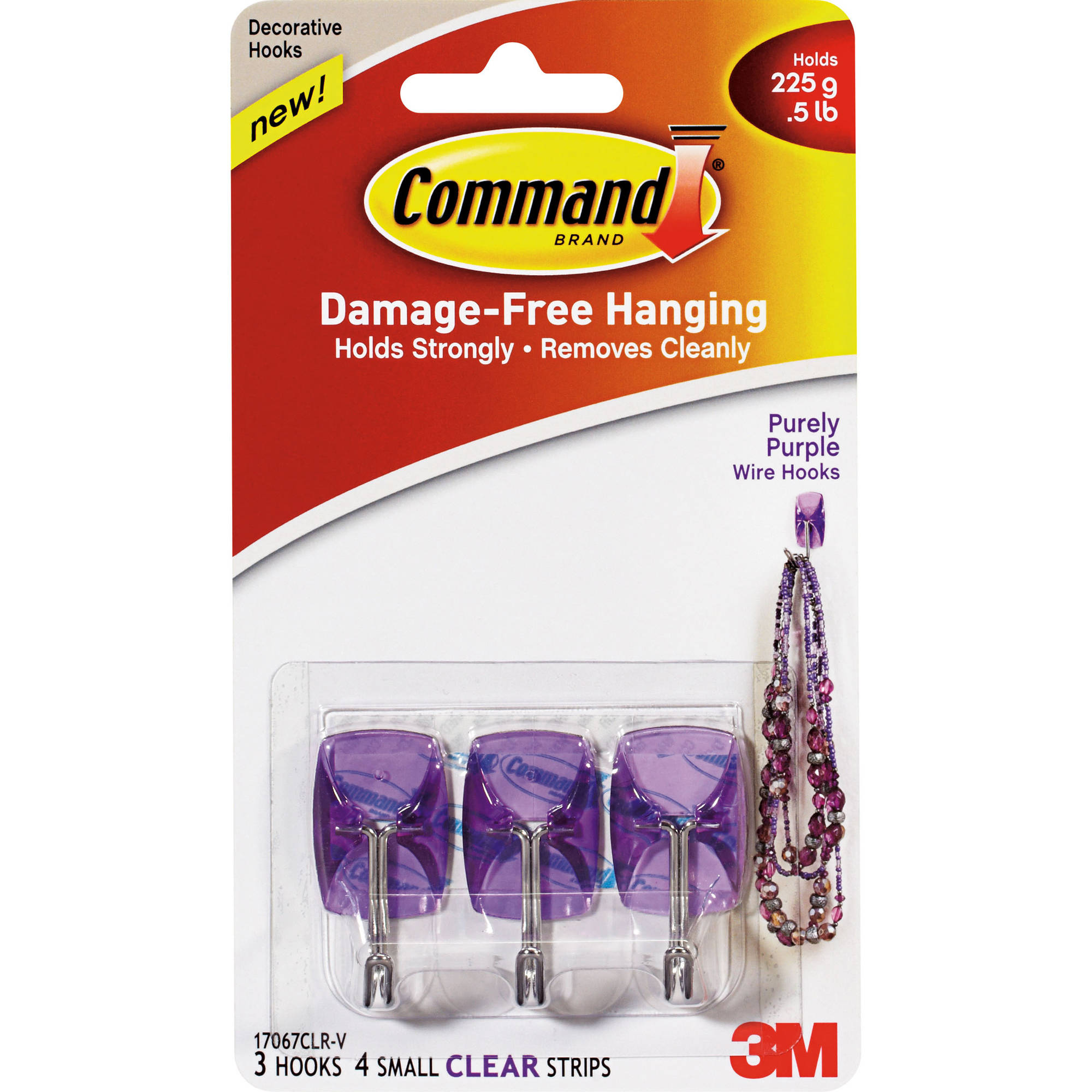Command Purely Purple Small Wire Hooks, 3 Hooks, 4 Clear Strips, 17067CLR-V