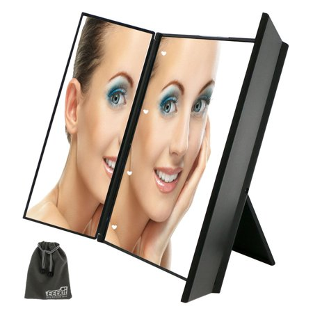 eeekit cosmetic led lighted mirror tri fold lighted led travel mirror with 8 led lights for. Black Bedroom Furniture Sets. Home Design Ideas