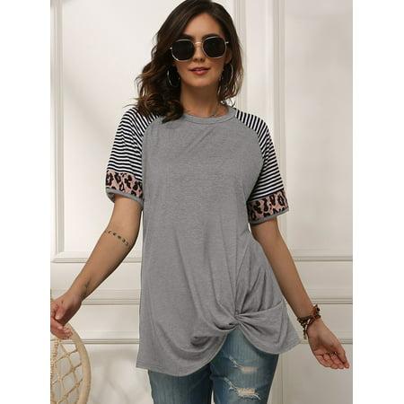 LELINTA Juniors Short Sleeve T-Shirts Color Block Striped Blouses Loose Irregular Tunic Tops Black/Wine Red/Grey