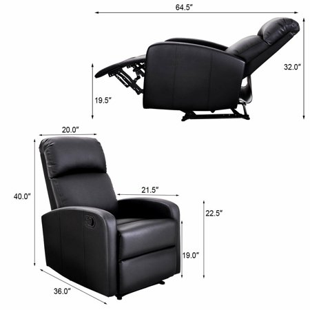 Costway Manual Recliner Chair Lounger PU Leather Sofa Seat Living Room Black - image 3 of 8