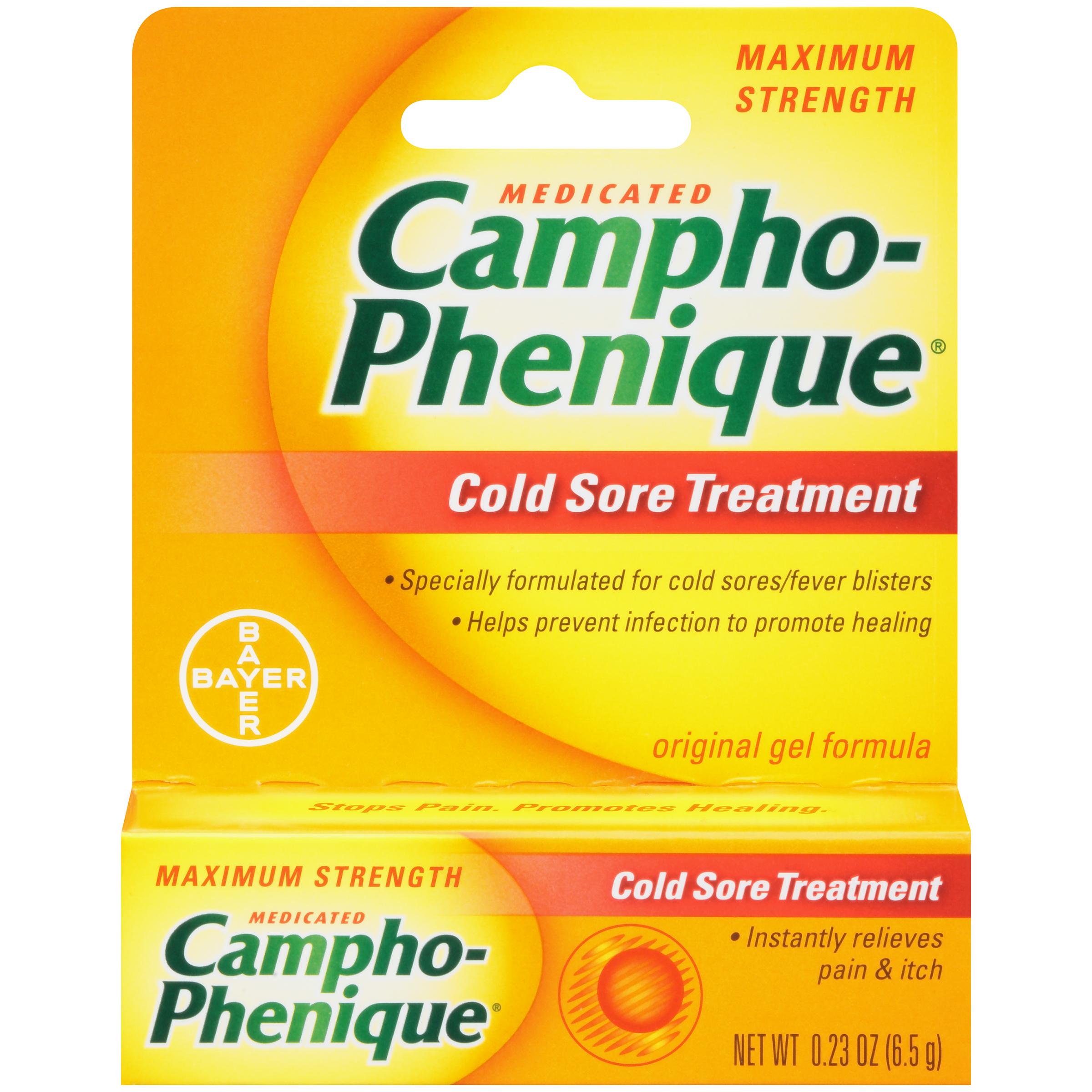 Campho-Phenique Medicated Cold Sore Treatment Maximum Strength Original Gel, 0.23 Oz