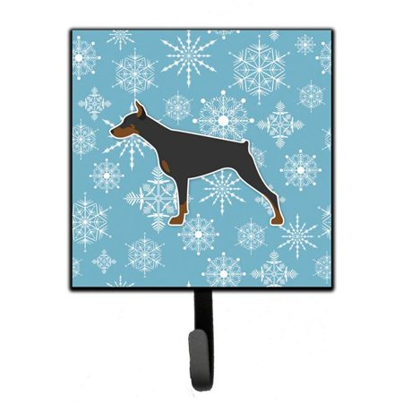 Winter Snowflake Doberman Pinscher Leash or Key Holder