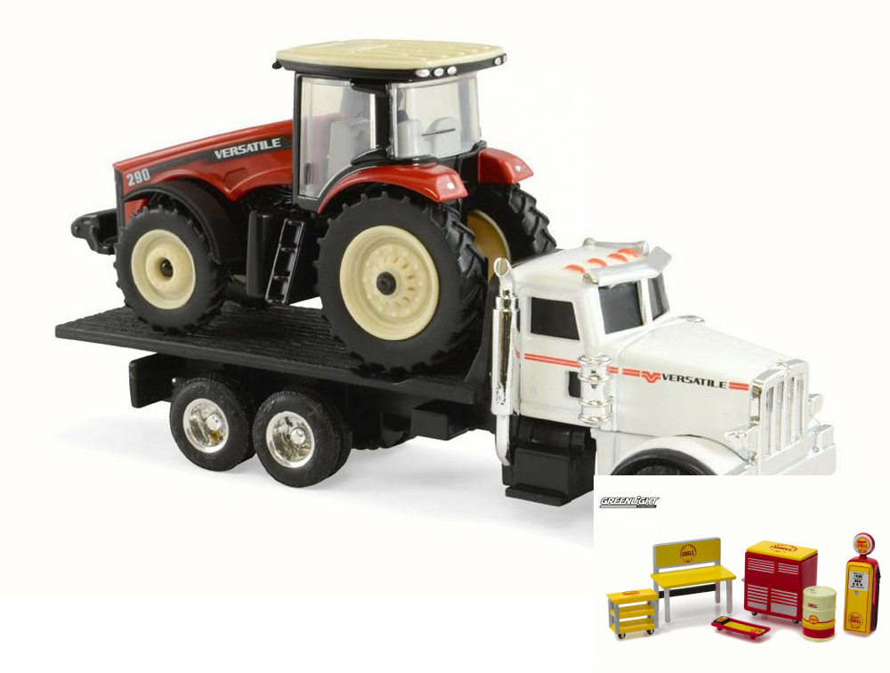 Diecast Car & Shop Tools Package 290 MFWD Tractor on Peterbilt 367 Dealership Truck, Red &... by ModelToyCars
