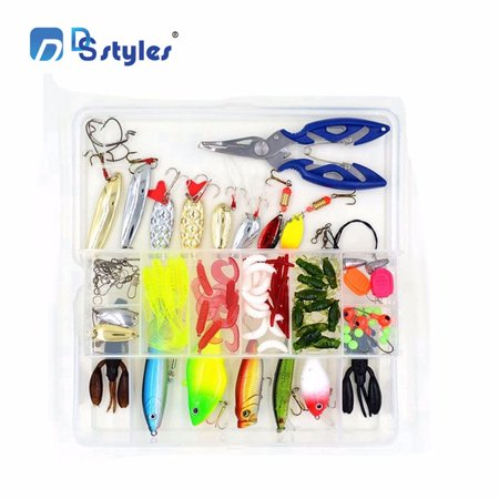 101-Pcs Fishing Lures Kit Set For Bass,Trout,Salmon,Including Spoon Lures ,Soft Plastic worms, CrankBait,Jigs,Topwater Lures (with Free Tackle Box)