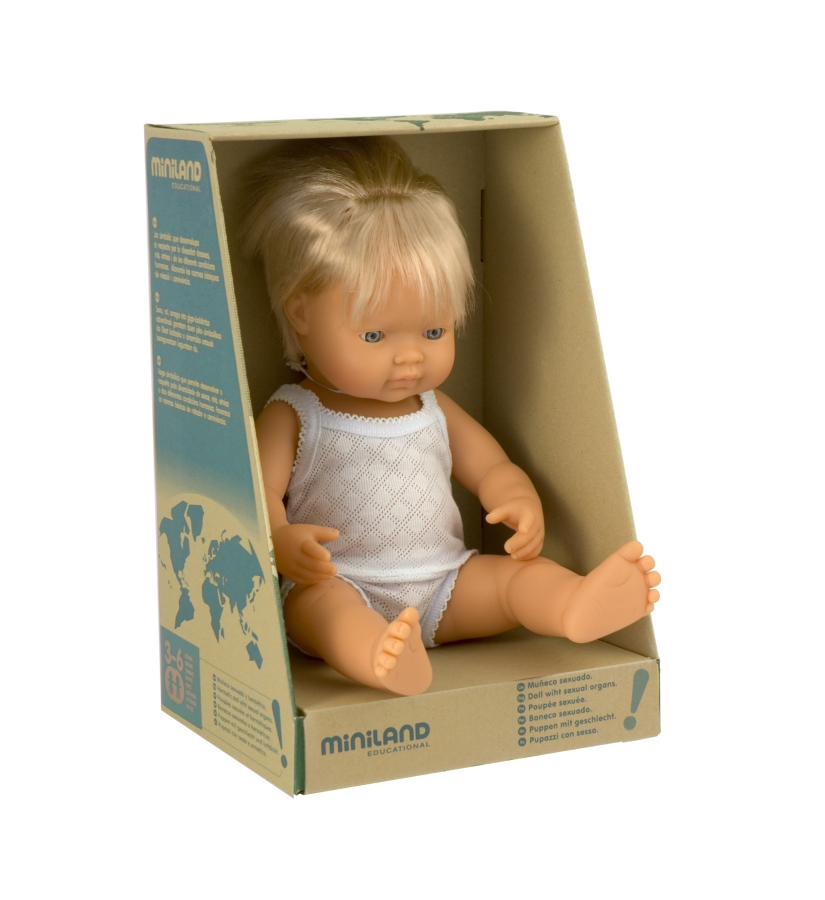 Miniland Educational 31151 Baby doll eruopean boy- 40 cm- 15 .75 in.Case