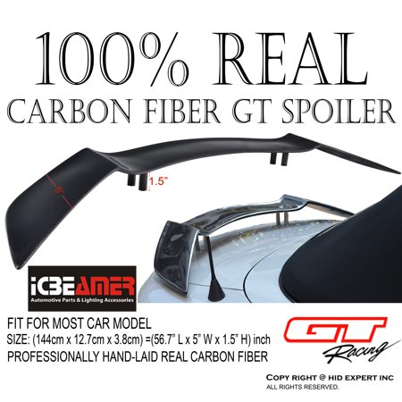 JDM 100% Real Carbon Fiber STYLE 57 inch RACING REAR BACK TRUNK SPOILER/ WING