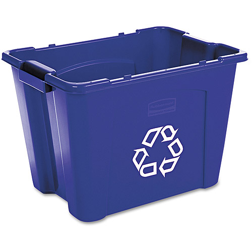 Rubbermaid Commercial Rectangular Blue Polyethylene Stacking Recycle Bin, 14 gal