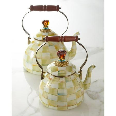 MacKenzie-Childs Parchment Check Enamel Tea Kettle 3