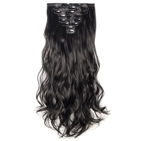 "S-noilite Long Curly Wavy Clip In Hair Extension Heat Resistant Party Hair Natural Synthetic Hair 8 pcs Dark Black,17""-175g"