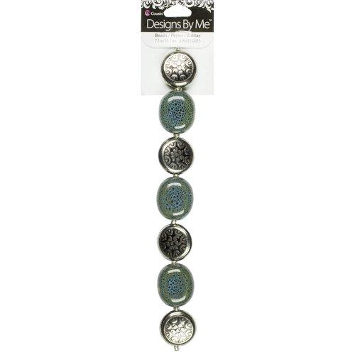 """Cousin 7.5"""" Ceramic/Acrylic Metal Teal Beads"""