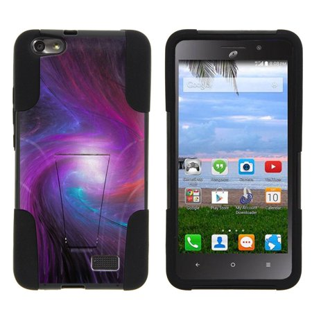 Huawei Raven LTE H892L STRIKE IMPACT Dual Layer Shock Absorbing Case with Built-In Kickstand - Swirl of Blue and