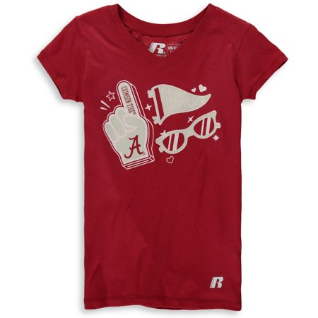 Girls Youth Russell Crimson Alabama Crimson Tide Tunic V-Neck T-Shirt