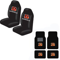 Bengals Front And Rear Carpet Auto Floor liner mats And Seat Cover Set