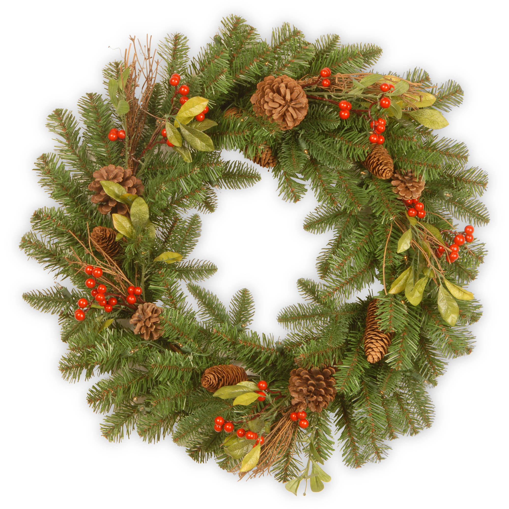 """24"""" Decorative Collection Berry Leaf Wreath"""