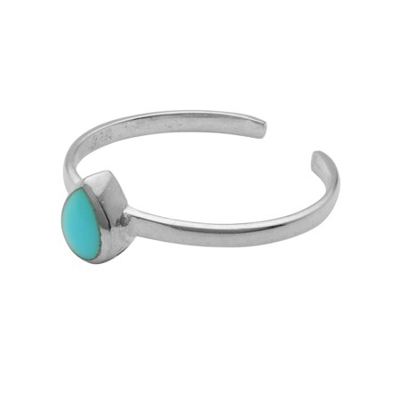 Sterling Silver Turquoise Toe Ring - Sterling Silver Turquoise Toe Ring