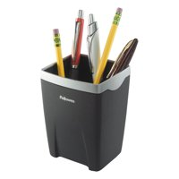Fellowes Office Suites Divided Pencil Cup, Plastic, 3 1/16 x 3 1/16 x 4 1/4, Black/Silver -FEL8032301
