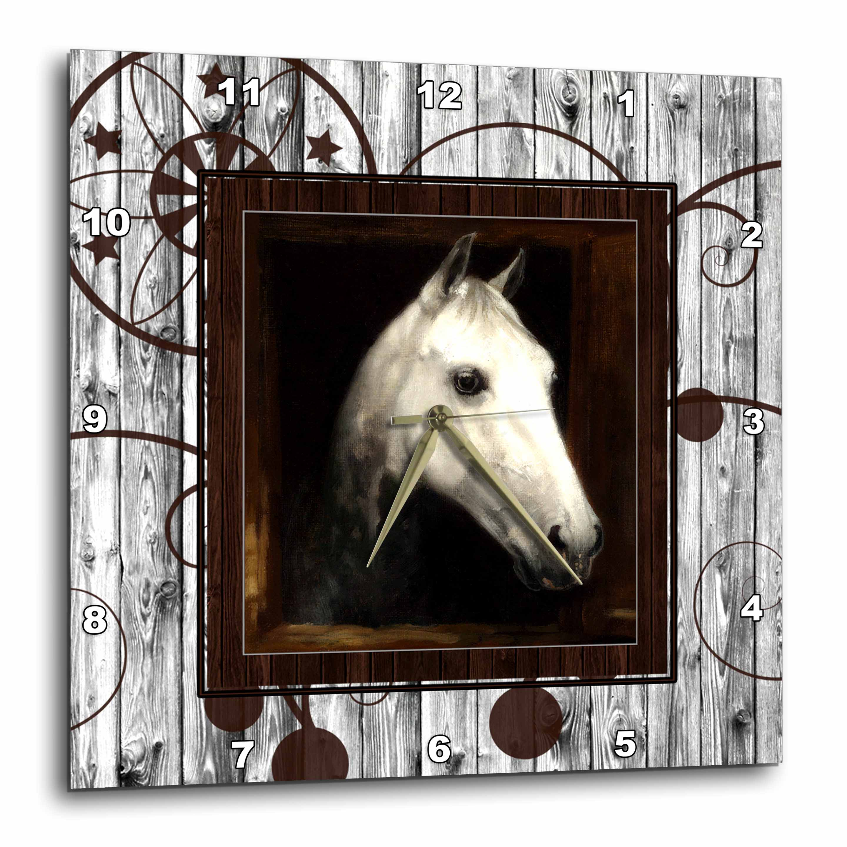 3dRose Vintage Horse Portrait from 1910 by Caspar von Reth restored with Western background., Wall Clock, 10 by 10-inch