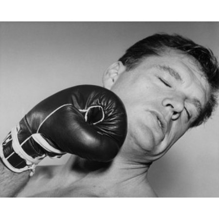 Mid adult man being hit by a punch Canvas Art -  (18 x 24) - Sucker Punch Costume