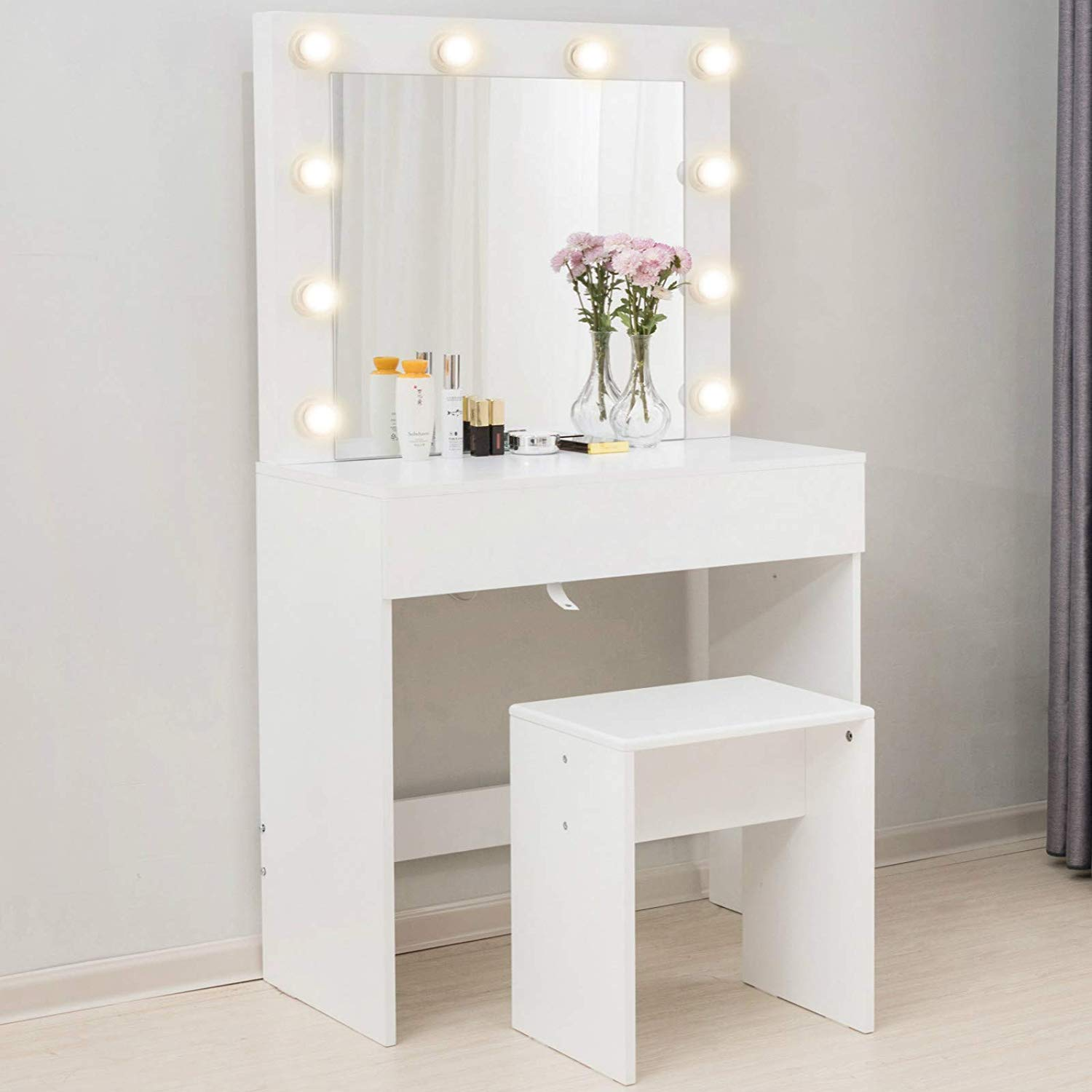 Mecor Makeup Vanity Table w/11 LED Lights Mirror,Vanity Set with  Stool&Drawer,Wood Dressing Table Bedroom Furniture Girls Women Gifts White