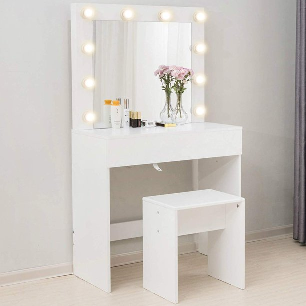 Mecor Makeup Vanity Table w/10 LED Lights Mirror,Vanity ...