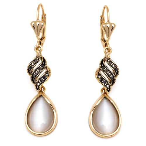 Peermont Jewelry 18k Goldplated Gold and Crystal Teardrop Drop Earrings Gold & White Crystal