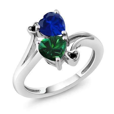 1.51 Ct Blue Simulated Sapphire Green Simulated Emerald 925 Sterling Silver Ring ()