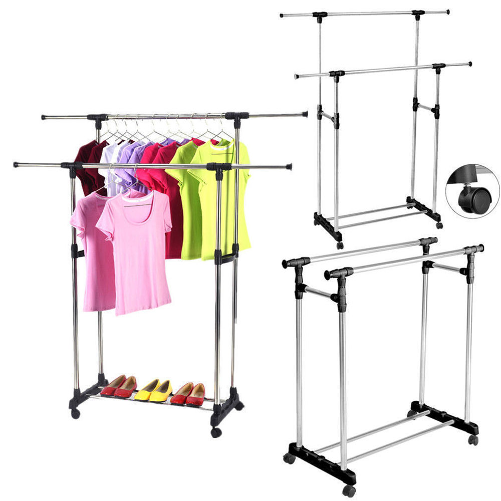 Ktaxon Heavy Duty Double Adjustable Portable Clothes Hanger Rolling Garment  Rack Rail   Walmart.com