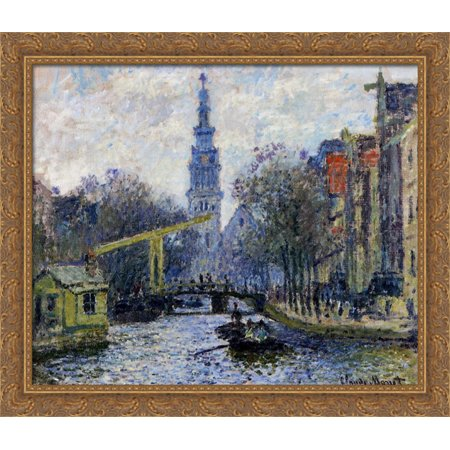 Canal in Amsterdam 32x28 Large Gold Ornate Wood Framed Canvas Art by Claude Monet