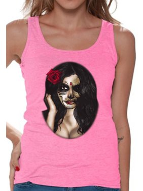 705b7bb4f832ec Product Image Awkward Styles Women s Sugar Skull Girl Graphic Tank Tops Day  of the Dead Dia de los