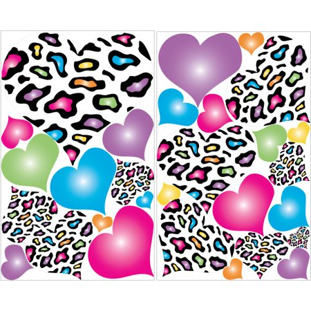 Multicolored leopard print heart wall decals 29 heart wall decor stickers