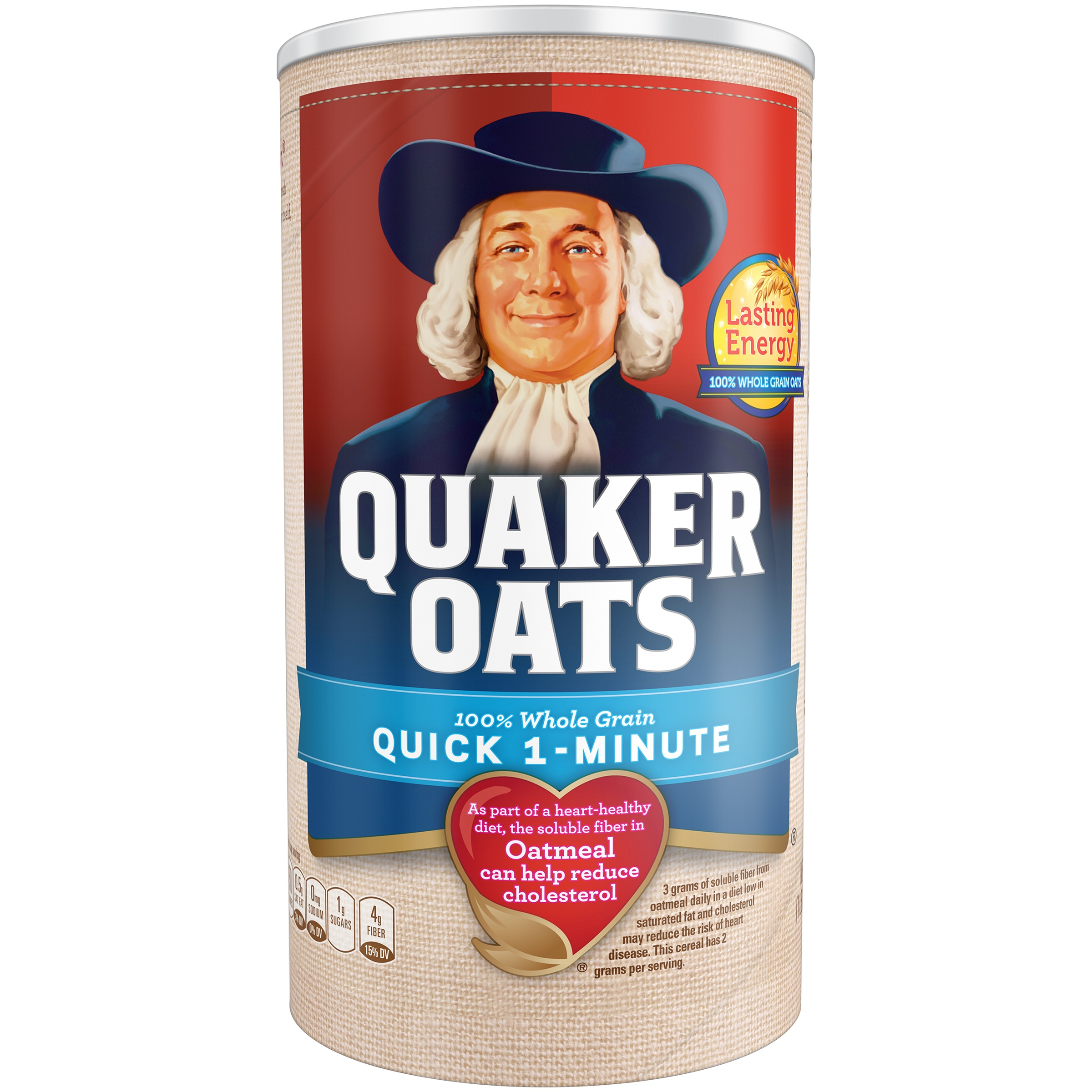 (4 Pack) Quaker Oats, Quick 1 - Minute Oatmeal, 18 oz Canister