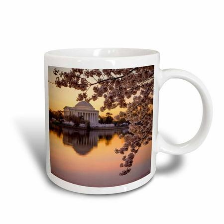 3dRose Cherry blossoms and the Jefferson Memorial at dawn, Washington DC, USA, Ceramic Mug, - Blossom Demitasse Cup