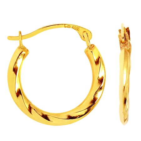 - 10k Yellow Gold Twisted Hoop Earrings, Diameter 15mm