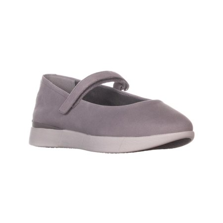 - Womens Easy Spirit Cacia Mary Jane Strap Flats, Light Gray Leather