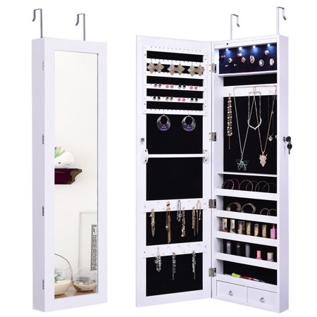Costway door Mount Mirrored Jewelry Cabinet Lockable Armoire Organizer w/LED Lights