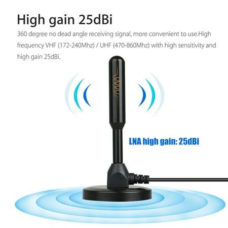 Magnetic Base Digital HDTV Antenna 50 Miles Range DVB-T DVB-T2 TV HDTV Aerial Antenna (4K Ultra-HD Ready, ATSC 3.0 Ready, VHF and UHF)