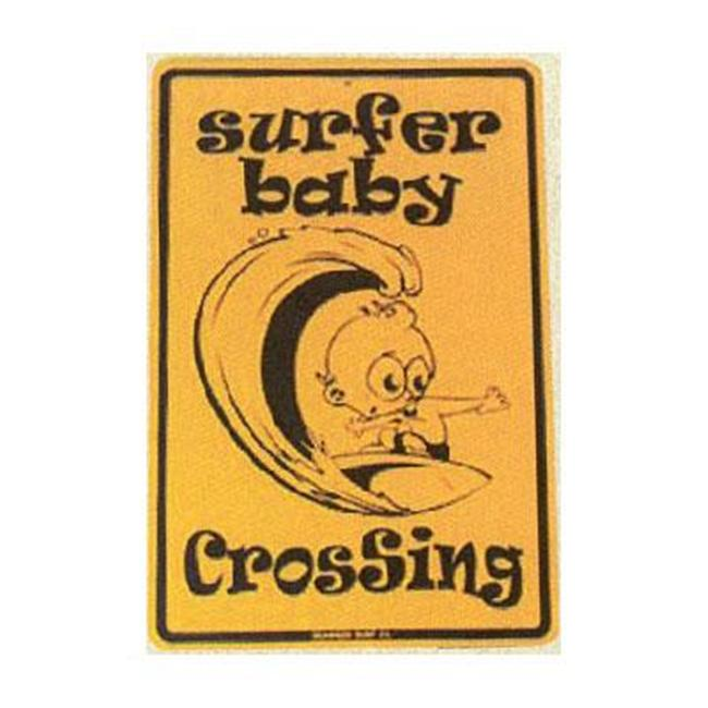 Seaweed Surf Co SF10 12X18 Aluminum Sign Surfer Baby Crossing